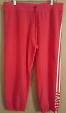NWT VICTORIA'S SECRET Women's Cropped Fleece Pants MEDIUM Red #43982