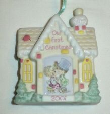 2001 Precious Moments First Christmas Together Porcelain Glitter House Ornament