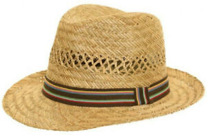 Childrens Straw Trilby Boys Girls Natural Summer Sun Hat Beach Holiday 2 Colours