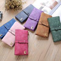 Women Lady PU Leather Retro Long Wallet Zipper Purse Card Holder Handbag Pouch