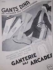 PUBLICITÉ GANTS DINA GANTERIE DES ARCADES NOUVEAUTÉS ÉLÉGANTES ÉCHARPES SACS