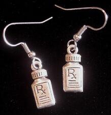 Pharmacist Earrings Rx Pill Bottle Oxidized Matte Silver Pharmacy Medical