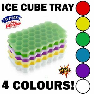 Silicone Ice Cube Tray Honeycomb Shape With Lid 4 Colours 37 Cubes Trays Moulds