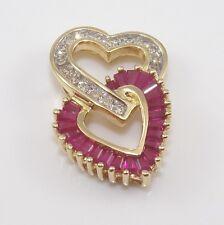 14K Yellow Gold Natural Diamond Pink Ruby Woven Locking Heart Pendant LQ3-G