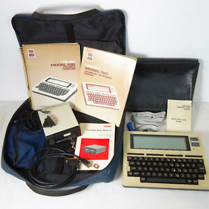 Radio Shack TRS-80 Model 100 Computer w/ cords Tandy Case + Floppy Disk Drive 2