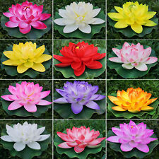 5fedd44bcf95 1 x Artificial Fake Open Lotus Flowers Lily Pad Floating Fish Pond Garden  Decor