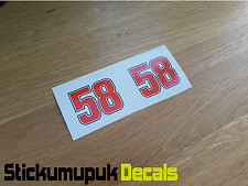 2x Marco Simoncelli Helmet Stickers Superbike MotoGP Tribute 50mm
