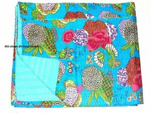 Indian Kantha Quilt Bedding Reversible Floral Throw Handmade Bedspread Twin Size