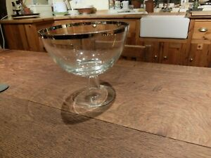 LARGE GLASS STEMMED PEDESTAL COMPORT TAZZA DISH BOWL CENTREPIECE with SILVER RIM