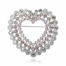 New  Mother's Day Gifts Hollow Heart Crystal Brooch Pin Women Costume Jewelry