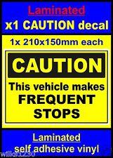 Feuilleté, attention ce véhicule rend des Arrêts fréquents, Autocollant Camion Van Bus voiture