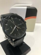 Fossil Commuter Chronograph Black Leather Watch FS5504 NWT