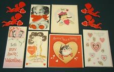 6 Vintage Valentine Greeting Cards With Envelopes + 4 Paper Cupid Pose Able Legs