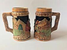 Japan Vintage Beer Stein Mug Hand Painted German Style Pair Set of 2