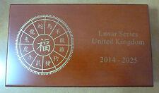 Lunar Series UK Royal Mint in legno MEDAGLIA Box per 12 x 1 oz monete d'argento