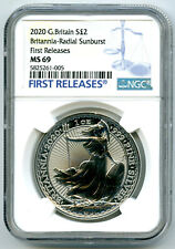 2020 GREAT BRITAIN 1OZ SILVER BRITANNIA RADIAL SUNBURST NGC MS69 FIRST RELEASES