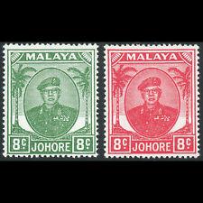 MALAYA Johore 1949-55 8c Green & 8c Scarlet. SG 138 & 138a. MLH. (AX328)
