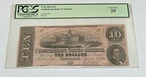 T-52 1862 $10 Confederate States of America Note PCGS Very Fine 20