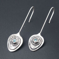 925 Silver Sapphire Dangle Drop Earrings Ear Hook Fashion Women Wedding Jewelry