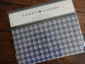 TOMMY HILFIGER NAVY BLUE White Classic PLAID KING SHEET SET Easy Care