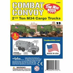 """BMC TM-07493 """"TimMee Plastic Army Men M34 Trucks 2x OD GREEN"""" 1/32 Plastic Toys"""
