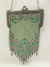 MANDALIAN  - Antique Enameled Chain Mail Mesh 1920's Art Deco Purse