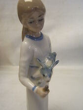 "Casades Porcelain Girl Feeding Rabbit 9 3/4"" tall Mint"