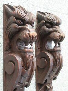 """2 antique European 38.1 / 2 """"hand-carved motif woods around 1860"""