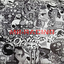 "*12""x60"" 1ftx5ft Black White Stickerbomb Graffiti Vinyl sticker wrap Decal Film"