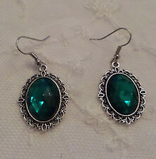 VICTORIAN STYLE EMERALD GREEN AC CRYSTAL FILIGREE DK SILVER PLATED EARRINGS SNV