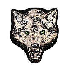Angry Gray Wolf Patch Wild Animal Cool Craft Jacket Apparel Iron-On Applique