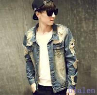 Fashion Retro Mens Casual Slim Fit Broken Wash Denim Jacket Outwear Jeans Coats
