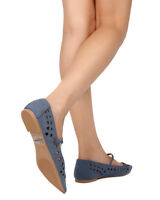 New Women Qupid Strike-17X Leatherette Pointy Toe Perforated Mary Jane Flat