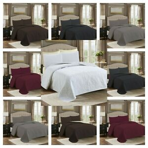 3 Piece Embossed Reversible Bed Spread Coverlet Quilt Super Soft Bedding Set