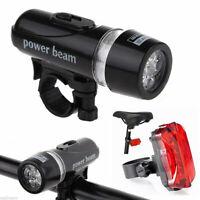 5 LED Lamp Bike Bicycle Front Head Light Rear Safety Flashlight Waterproof Set K