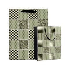 6 Pack Green Checker Quilt Paper Gift Bags Birtherday Xmas Gift Packaging Tote
