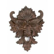 New listing Gargoyle Face garden plaque ~ cast iron Horn Nature Leaf Man Green God Cernunnos