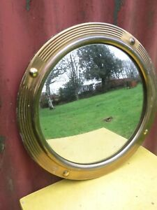 Lovely Vintage Convex Brass Mirror .