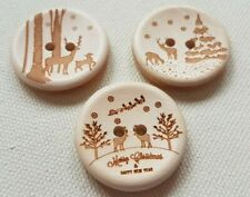 LUXURY WOODEN CHRISTMAS DESIGN BUTTONS - 30mm, XMAS, WINTER, TREE, REINDEER, UK