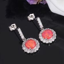 """Red Fire Opal Zircon Women Jewelry Gemtone 925 Silver Stud Earrings 7/8"""" OH3377"""