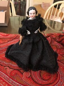 ANTIQUE 1860 WOOD ARMS AND LEGS FLAT TOP CIVIL WAR CHINA HEAD DOLL