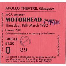 MOTORHEAD & TANK Concert Ticket Stub GLASGOW SCOTLAND 3/18/82 IRON FIST TOUR