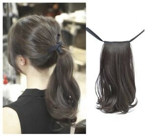 Thick Ponytail Clip In Hair Extension Korean Style 30cm Black 72g