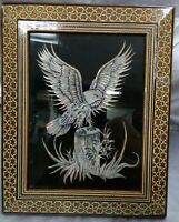 EAGLE PICTURE in FRAME velvet background bronze silver stump DECOR unique