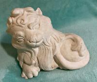 Cast Lion Figurine Heavy Plaster Vintage Antique White, Detailed