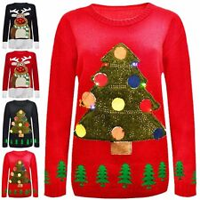 Ladies Women XMAS Special TREE Christmas 3D Jumper With LED Flashing Light 8-22