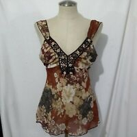 VTG  HEARTSOUL SHEER BLOUSE  TOP W/ TIE MADE IN USA  XL