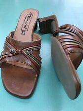 Tamaris 39 UK 6 tan Brown Leather Mid Block Heel Slip On Mules Sandals Beautiful