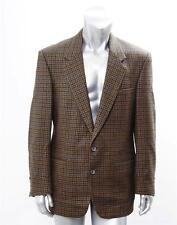 PERRY ELLIS Mens Brown Wool Houndstooth Two-Button Blazer Sport Coat Jacket 42 L