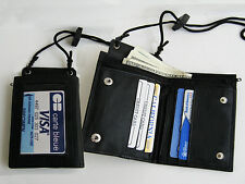 BLACK GENUINE LEATHER WALLET ID Badge Window Pocket Card Holder Zip Neck Strap))